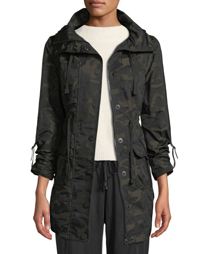 Camo-Print Hooded Anorak Jacket