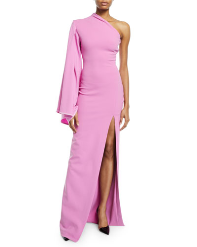 Lani Crepe One-Shoulder Front-Split Gown