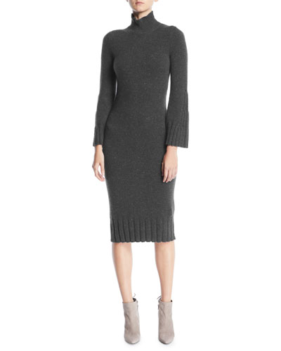 Turtleneck Long-Sleeve Cashmere Dress w/ Ribbed Edges