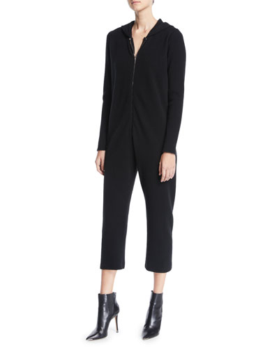 Zip-Front Long-Sleeve Cropped Straight-Leg Cashmere Jumpsuit