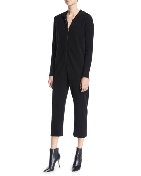 GENTRY PORTOFINO ZIP-FRONT LONG-SLEEVE CROPPED STRAIGHT-LEG CASHMERE JUMPSUIT