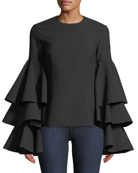 SOLACE LONDON Ruba Tiered Flounce-Sleeve Crepe Top in Black