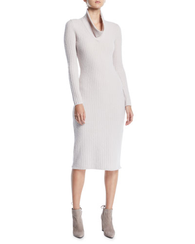 Cowl-Neck Long-Sleeve Ribbed Tea-Length Cashmere-Blend Sweaterdress