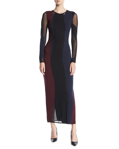 Jewel-Neck Long-Sleeve Colorblocked Body-Con Dress w/ Sheer Inserts