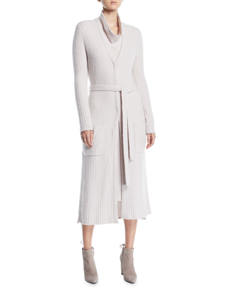 0a3c7f0659b2 Gentry Portofino Tie-Belt Long-Sleeve Long Cashmere Cardigan