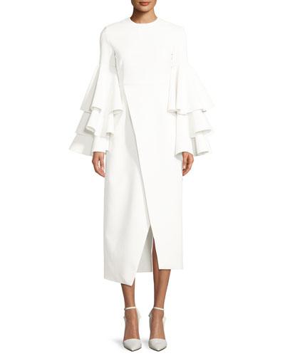 Minelli Ruffle Bell-Sleeve Midi Dress