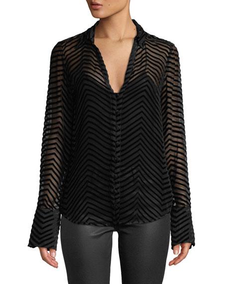 PAIGE Toscani Velvet-Stripe Sheer Button-Front Top in Black
