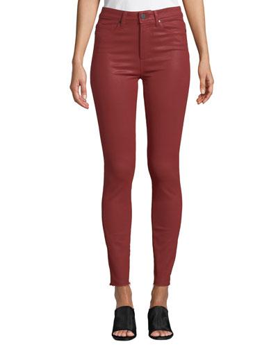 Hoxton Raw-Hem Coated Skinny Jeans