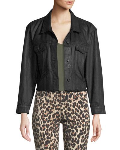 Tori Button-Front Coated Denim Jacket