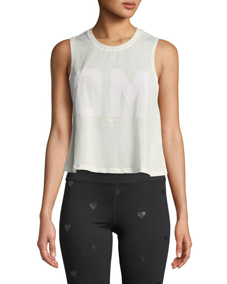 Om Cropped Activewear Tank in White