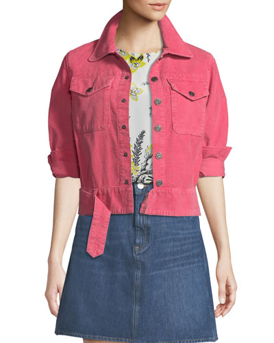 Paradise Cropped Button-Front Corduroy Jacket