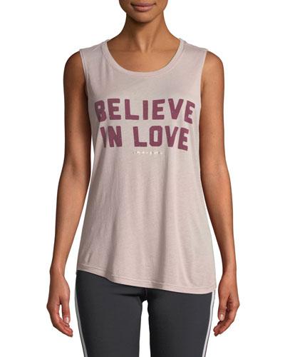 Believe Love Scoop-Neck Graphic Muscle Tank