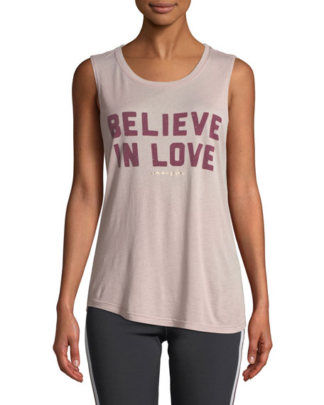 Spiritual Gangster Believe Love Scoop-Neck Graphic Muscle Tank, PINK
