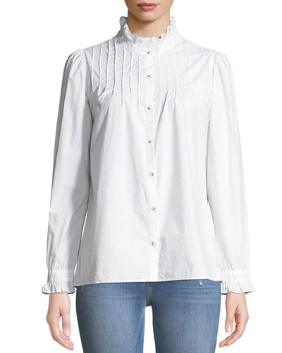 Danvers Pintuck High-Neck Cotton Blouse