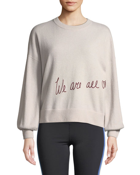 We Are All One Embroidered Pullover Sweater