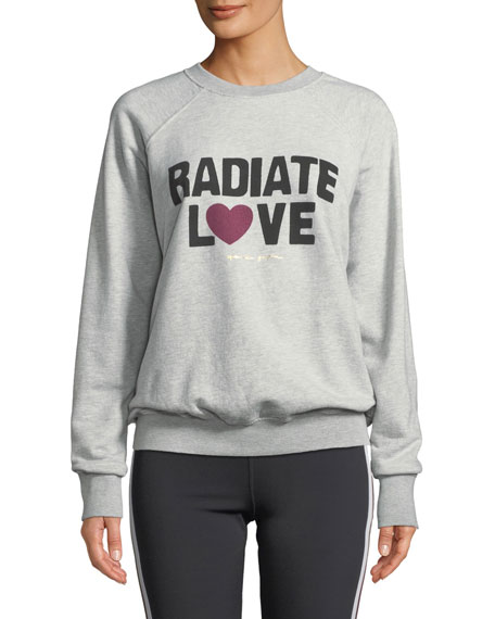 Spiritual Gangster RADIATE LOVE GRAPHIC CREWNECK SWEATER, GRAY