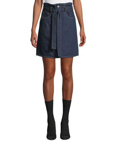 Kelly Denim Paperbag-Waist Skirt
