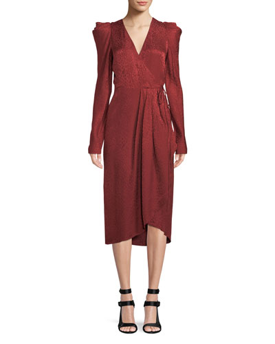 Carolina Pleated Long-Sleeve Silk  Wrap Dress