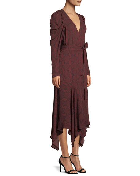Tianna Snake-Print Long-Sleeve Wrap Dress