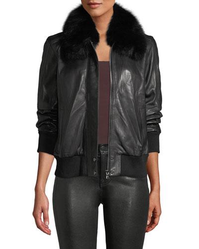 Aran Zip-Front Leather Bomber Jacket w/ Fur Collar