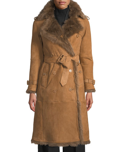 Tolladine Shearling-Trim Suede Trench Coat