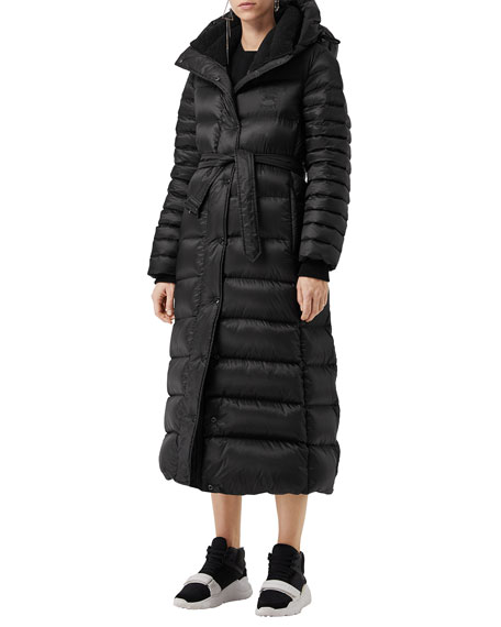 Single-Breasted Belted Puffer Coat in Black