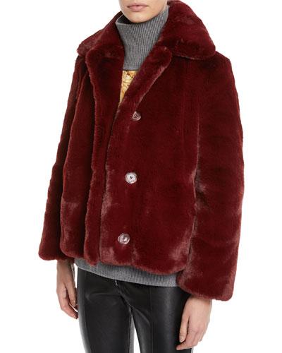 Faux-Fur Button-Front Coat