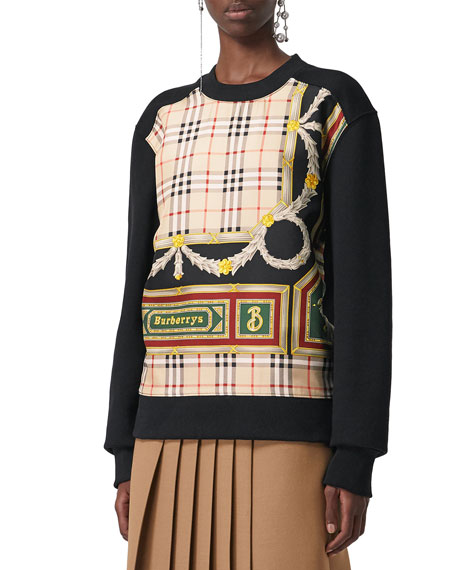 Glenmore Archive Scarf Print Panel Sweatshirt, Black