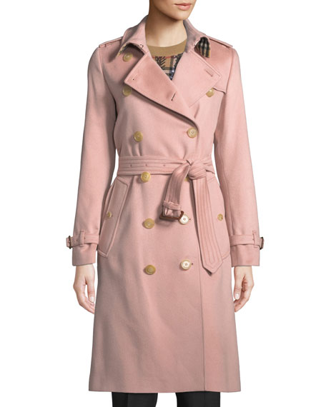 Kensington Belted Cashmere Long Trench Coat in Pink