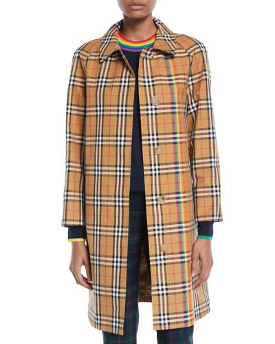 Clayborne Plaid Car Coat w/ Rainbow Stripe