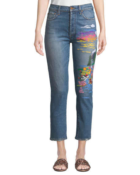 AO.LA BY ALICE+OLIVIA Amazing High-Rise Slim Girlfriend Jeans in Blue Pattern