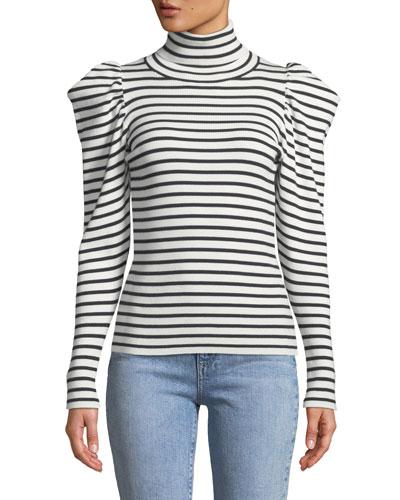 Baker Striped Puff-Sleeve Turtleneck Sweater