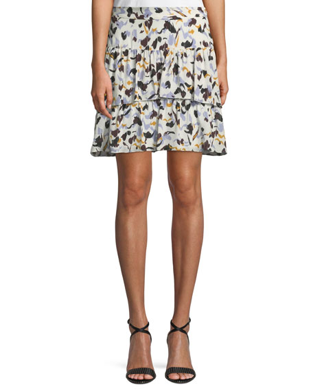 A.L.C. Baxter Printed Tiered Silk Skirt