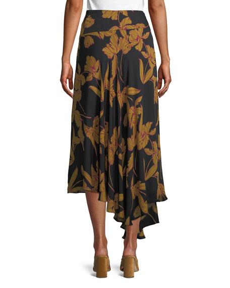 Lev A-Line Floral-Print Silk Midi Skirt