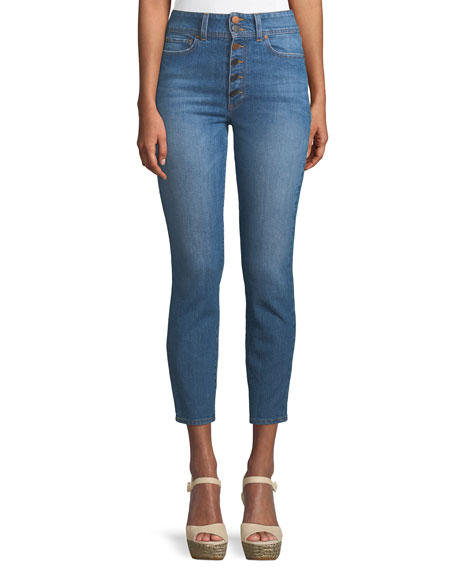 AO.LA BY ALICE+OLIVIA Good High-Rise Ankle Skinny Jeans in Medium Blue