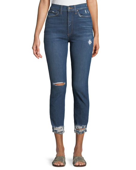 AO.LA BY ALICE+OLIVIA Good High-Rise Destroyed Skinny Jeans in Medium Blue