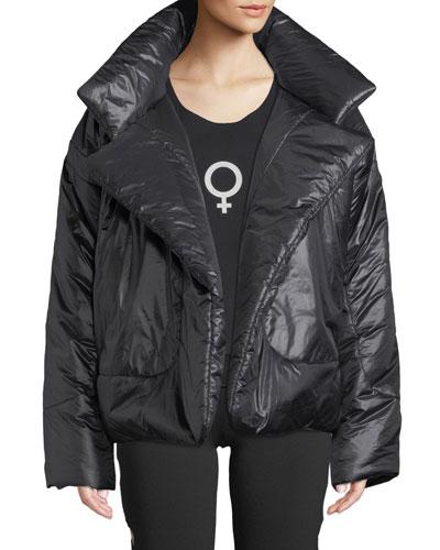 Sleeping Bag Open-Front Puffer Coat