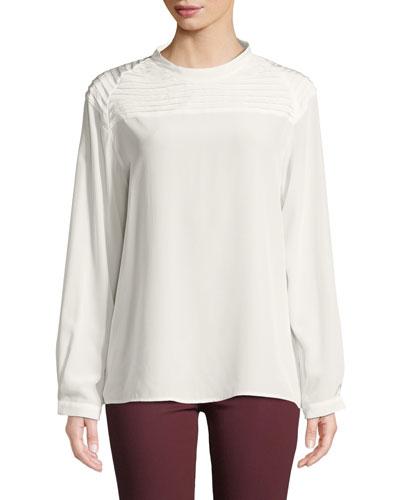 Chrystal Pleated Long-Sleeve Silk Top
