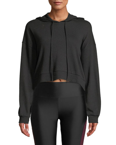 Snap-Sleeve Cropped Pullover Hoodie