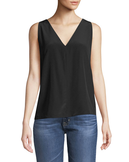 Christina Pleated-Back V-Neck Silk Top in Black