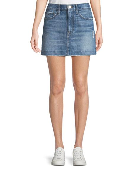 Le Mini Blind Stitch Denim Skirt, Blue