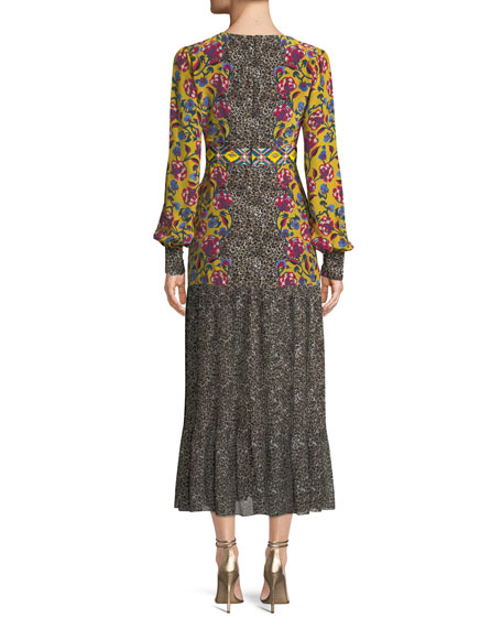 Vera Mixed-Print Flounce Midi Dress