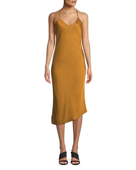 Scarlet V-Neck Asymmetric Slip Dress in Duck Canvas