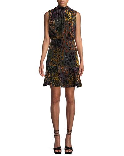 Fleur Mock-Neck Tie-Back Leopard Velvet Dress