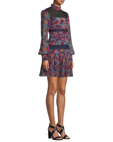 Dina Lace & Silk Long-Sleeve Dress