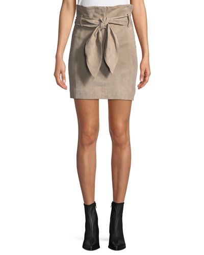 Brassi Belted High-Rise Suede Skirt