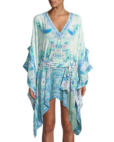 Double-Layer Printed Silk Kimono-Sleeve Dress