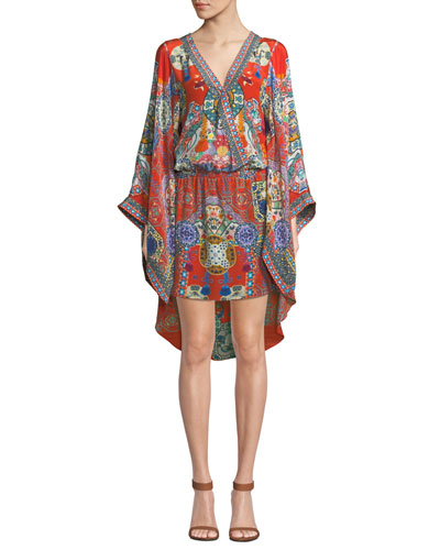 Printed Silk Kimono Dress