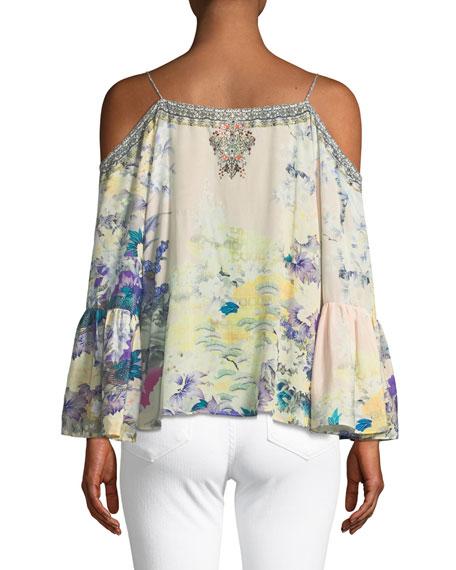Printed Embellished Cold-Shoulder Silk Top