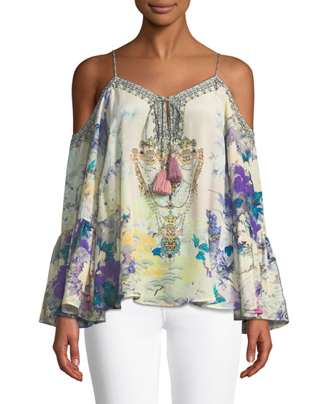 PRINTED EMBELLISHED COLD-SHOULDER SILK TOP